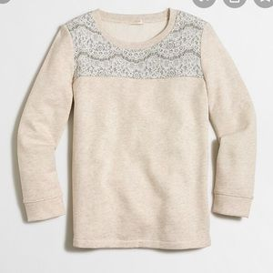 J crew factory lace yoke sweatshirt